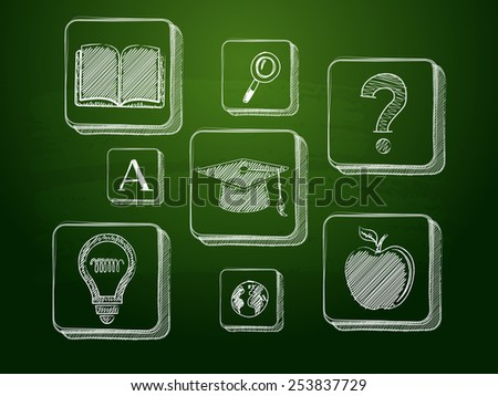 education signs - white chalk symbols over green blackboard, learning concept icons - stock photo