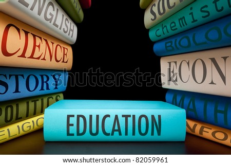 education study books with text learning building knowledge at school go to college or university study to learn and gather wisdom textbooks on pile back to school