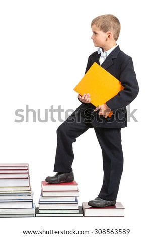 Education success graph - successful schoolboy isolated on white background. Back to school - stock photo