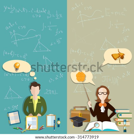 Education teacher student exam pupils school college faculty biology textbooks experiments training banners - stock photo