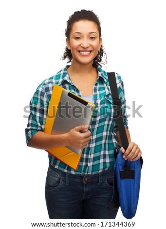 education, technology and people concept - smiling female african american student with folders, bag and tablet pc