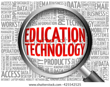 Education Technology word cloud with magnifying glass, business concept 3D illustration