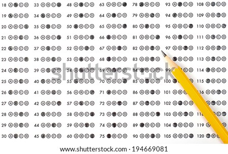 Education. Test score with pencil - stock photo