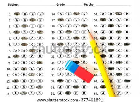 Education test sheet with yellow pencil. Education concept - stock photo