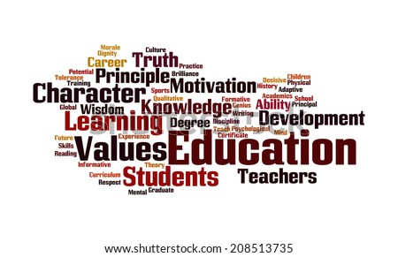Education word cloud:collage illustrating the concept of education and the words associated with it  - stock photo
