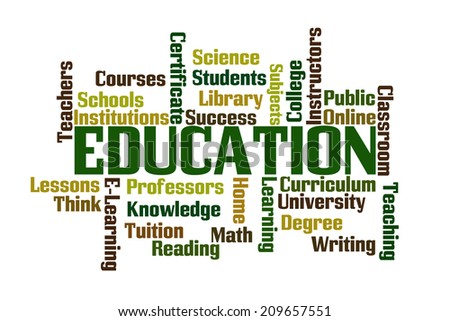 Education Word Cloud on White Background - stock photo