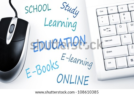 Education word scheme and computer keyboard - stock photo