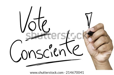 Educational and Creative composition with the message Conscience Vote (Portuguese: Vote Consciente) on the blackboard - stock photo