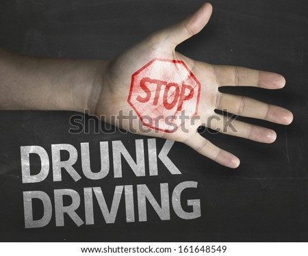 Educational and Creative composition with the message Stop Drunk Driving on the blackboard - stock photo