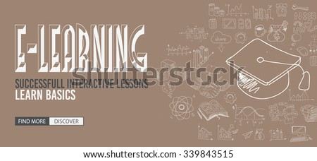 Educational and Learning concept with Doodle design style :teaching solution, studies, creative ideas. Modern style illustration for web banners, brochure and flyers. - stock photo