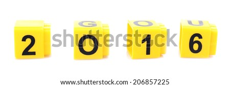 Educational cubes for new year, isolated on white - stock photo