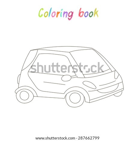 Educational Game For Children Coloring Book Car Raster Version