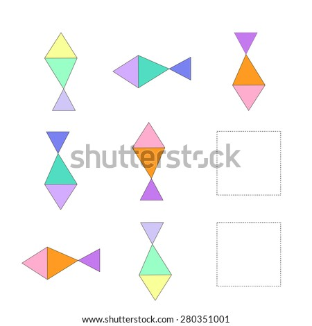 Educational game for children draw the fish in blank square raster version - stock photo
