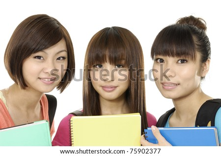 Educational theme: asian three female friends - stock photo