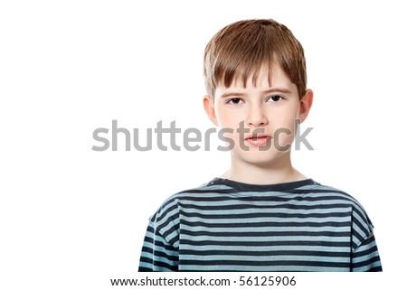 Educational theme: boy teenager. Isolated over white background. - stock photo