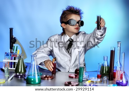Educational theme: funny teen, medicine, science. Shot in a studio. - stock photo
