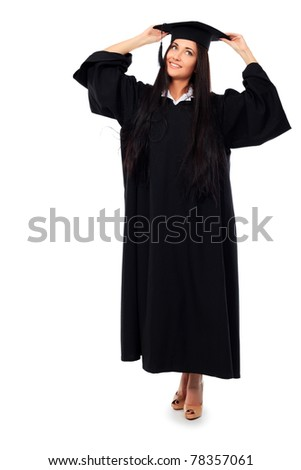 Educational theme: graduating student girl in an academic gown. Isolated over white background. - stock photo