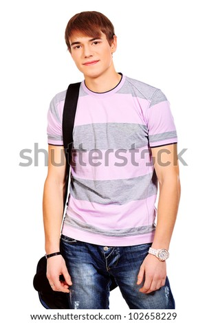 Educational theme: male student with bag. Isolated over white background. - stock photo