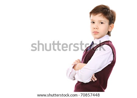 Educational theme: portrait of a schoolboy. Isolated over white background. - stock photo