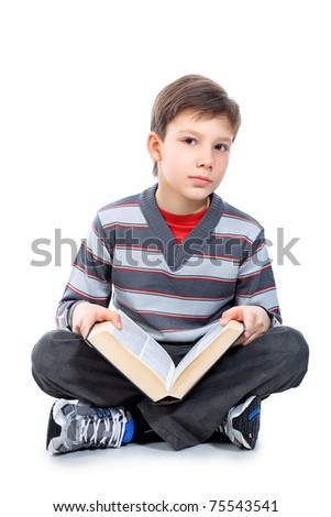 Educational theme: portrait of a schoolboy with books. Isolated over white background. - stock photo