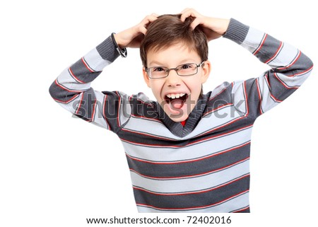 Educational theme: portrait of a shouting schoolboy. Isolated over white background. - stock photo