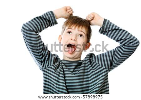 Educational theme: shouting boy teenager. Isolated over white background. - stock photo