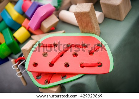 educational wooden toys. Educational toys for preschool and kindergarten child. - stock photo