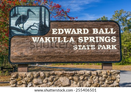 Edward Ball Wakulla Springs entrance sign.  This florida state park is located south of Tallahassee, Florida. - stock photo