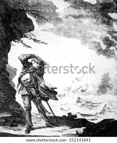 Edward Low, (aka Edward Lowe), English pirate shown on shore watching a ship foundering in a hurricane, c. 1720.