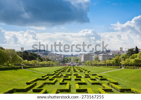 Edward vii park in Lisbon, Portugal - stock photo