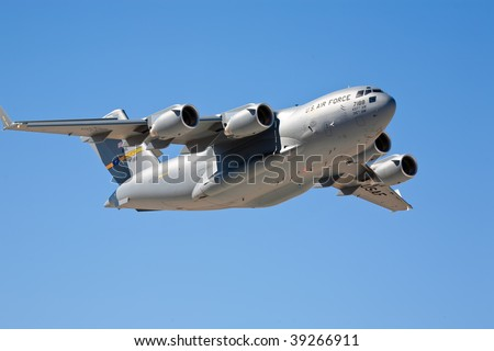 EDWARDS AFB, CA - OCT 17: Boeing C-17 Globemaster performs at Flight Test Nation 2009, October 17, 2009, Edwards Air Force Base, CA - stock photo
