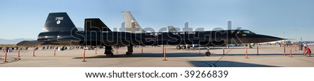 EDWARDS AFB, CA - OCT 17: Lockheed SR-71 Blackbird reconnaissance aircraft on display at Flight Test Nation 2009, October 17, 2009, Edwards Air Force Base, CA - stock photo