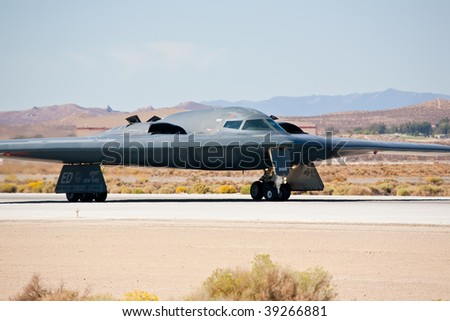 "EDWARDS AFB, CA - OCT 17: Northrop Grumman B-2 Spirit ""Spirit Of New York"" taxiing to the runway at Flight Test Nation 2009, October 17, 2009, Edwards Air Force Base, CA"