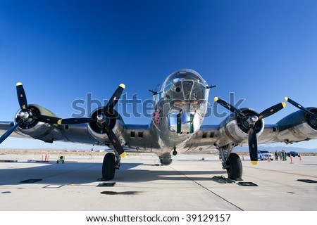 EDWARDS AFB, CA - October 17: Boeing B-17 Flying Fortress WWII-era bomber aircraft on display at Flight Test Nation 2009, October 17, 2009, Edwards Air Force Base, CA - stock photo