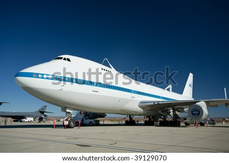 EDWARDS AFB, CA - October 17: Boeing 747 Shuttle Carrier Aircraft on display at Flight Test Nation 2009, October 17, 2009, Edwards Air Force Base, CA - stock photo