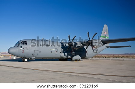 "EDWARDS AFB, CA - October 17: Lockheed Martin C-130J ""Super"" Hercules transport aircraft on display at Flight Test Nation 2009, October 17, 2009, Edwards Air Force Base, CA - stock photo"