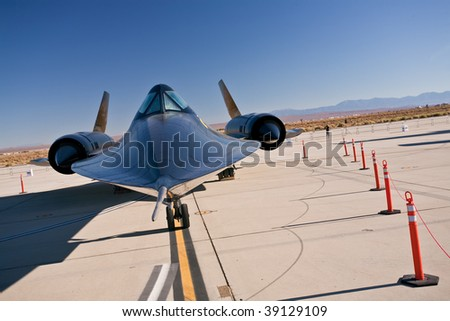 EDWARDS AFB, CA - October 17: Lockheed SR-71 Blackbird reconnaissance aircraft on display at Flight Test Nation 2009, October 17, 2009, Edwards Air Force Base, CA - stock photo