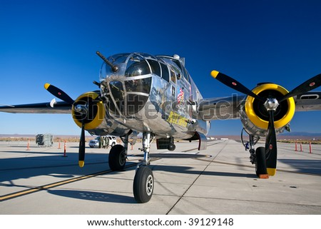 EDWARDS AFB, CA - October 17: North American B-25 Mitchell WWII-era bomber aircraft on display at Flight Test Nation 2009, October 17, 2009, Edwards Air Force Base, CA - stock photo