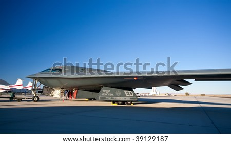 "EDWARDS AFB, CA - October 17: Northrop Grumman B-2 Spirit ""Spirit Of New York"" on display at Flight Test Nation 2009, October 17, 2009, Edwards Air Force Base, CA - stock photo"