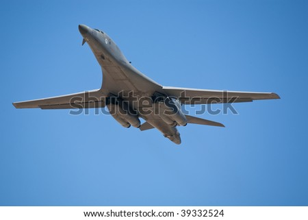 EDWARDS AFB, CA - OCTOBER 17: Rockwell B-1 Lancer supersonic bomber performs at Flight Test Nation 2009, October 17, 2009, Edwards Air Force Base, CA - stock photo