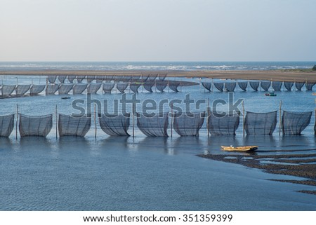 eel traps in the middle of the river in Miaoli, Taiwan - stock photo