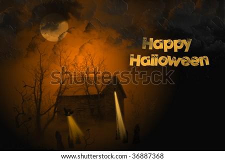 eerie halloween illustration - stock photo