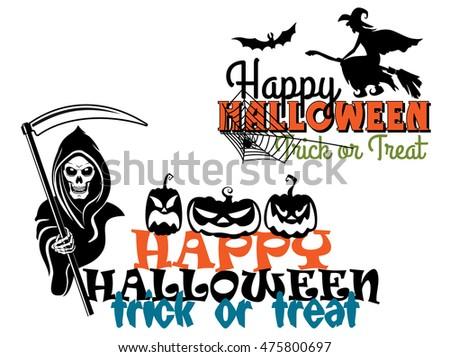 Eerie Happy Halloween Posters With Pumpkin Flying Witch On Broom Bat Skeleton