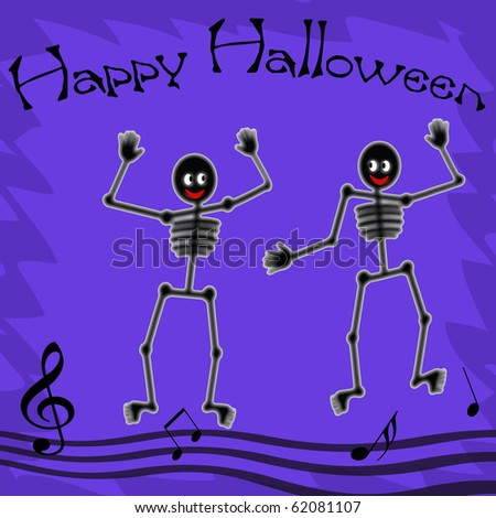 eerie skeletons dance happy Halloween poster