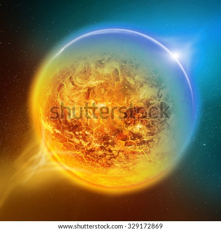 Effect of global warming on the planet Earth view from space 'elements of this image furnished by NASA' - stock photo