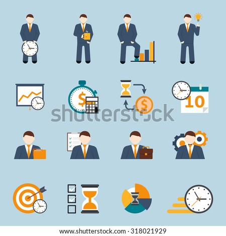 Effective office hours  time management and realistic goal planning strategy flat icons collection abstract isolated  illustration - stock photo