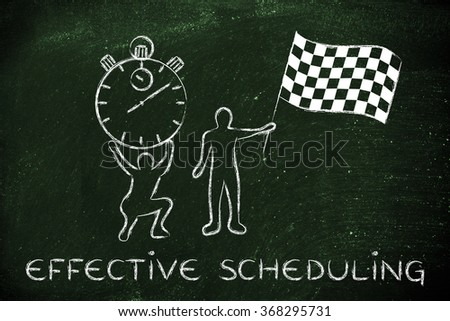 effective scheduling: men with oversized stopwatch and chekered flag