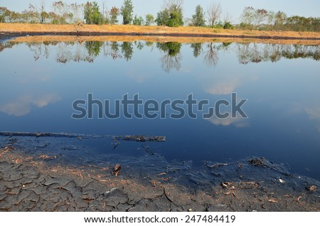 Effects Environmental from Water contaminated with Chemicals and oil. This wastewater occur from disposal of Industrial waste and old oil to natural water sources of illicit. - stock photo