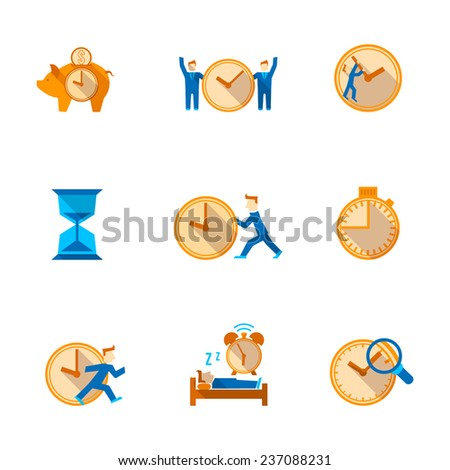 Efficient and cost effective team time management strategy flat icons set with shadow abstract isolated  illustration - stock photo