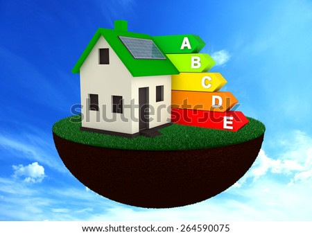 Efficient Energy house for save the world environment with blue sky and clouds - stock photo